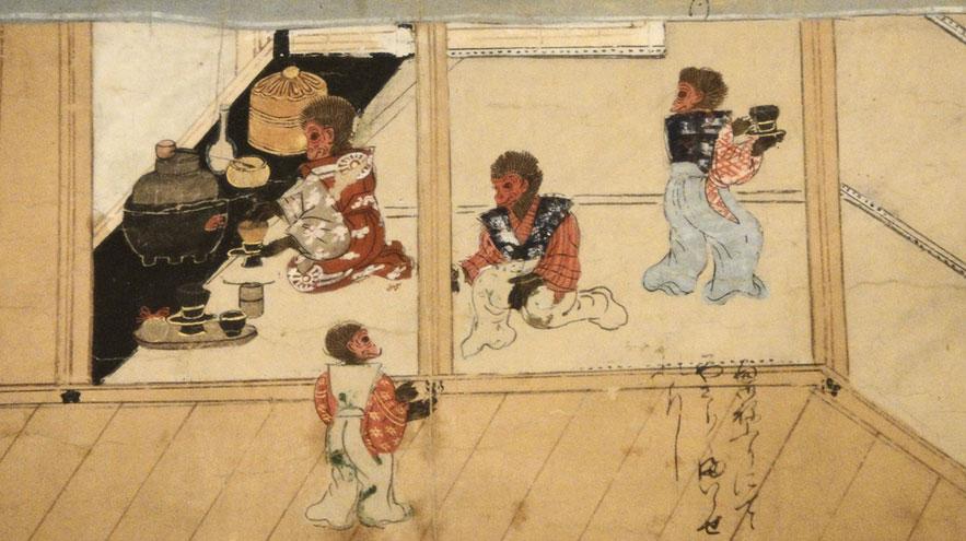 """""""Свиток обезьян"""", чайная церемония, Япония, 1550 г."""