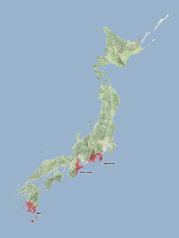 Основные чаепроизводящие префектуры Японии