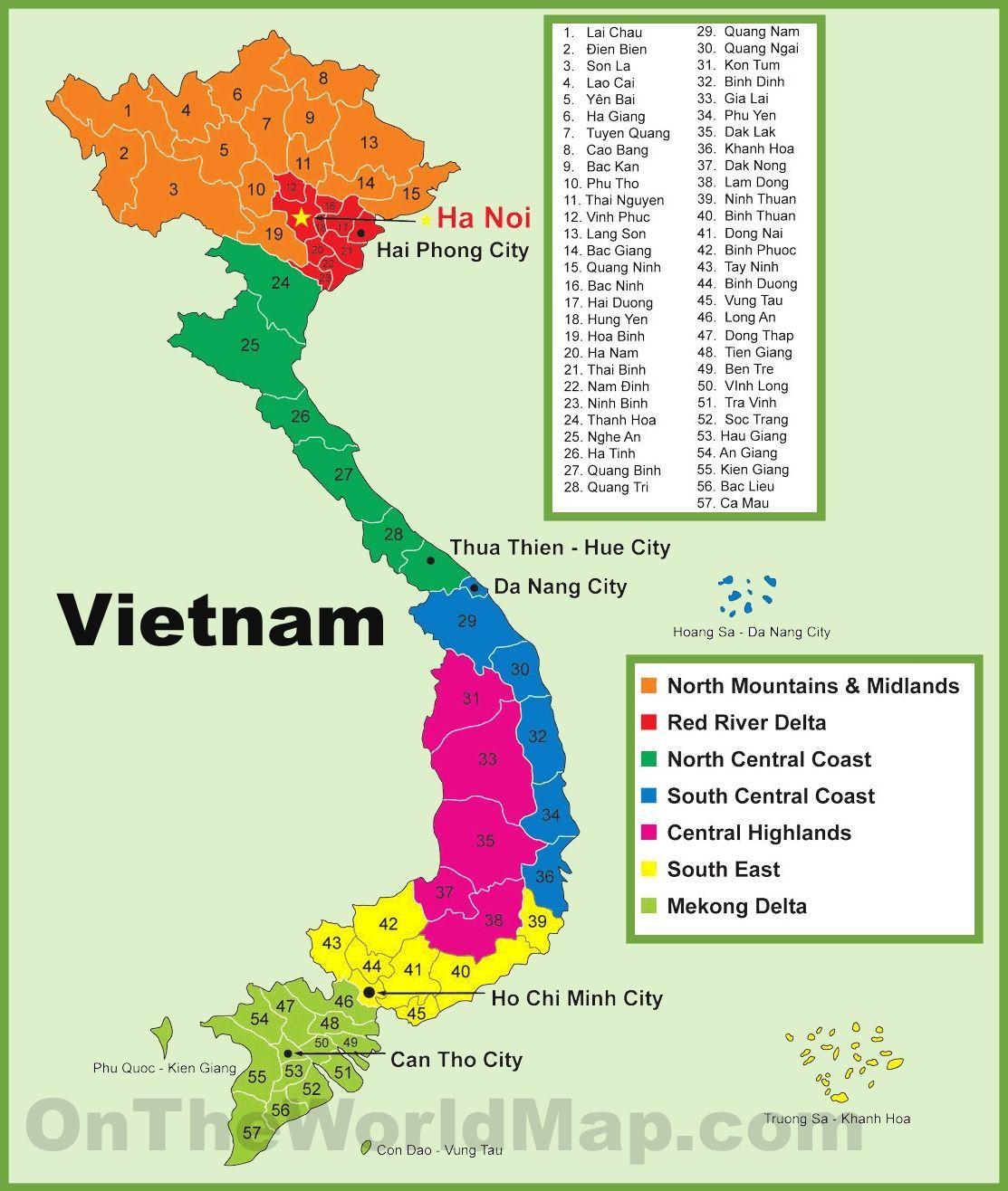Карта Вьетнама - провинции и регионы